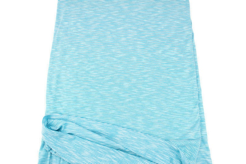 Blue and White Narrow Stripe Knit Jersey Fabric by the yard STK00257R