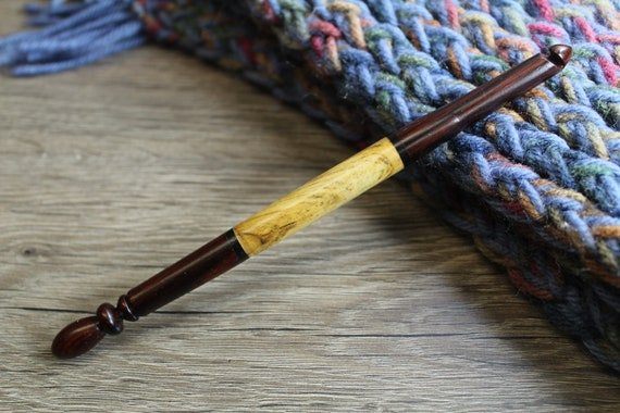 Crochet Hook Handmade Turned wood Crochet Hook Wooden Crochet hook Wood Crochet hook size N