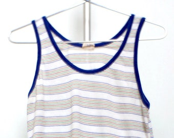 1d7351b766933 Vintage striped tank top soft hudson bay wifebeater ringer 70s 50 50 Small  Medium Large