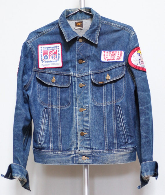Vintage Lee denim Jacket 80s cycling jacket distre