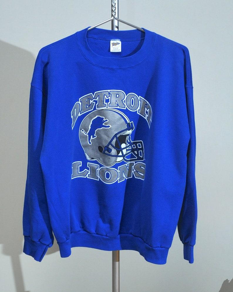 meet ecddb 04d79 Rare Vintage Detroit Lions Sweatshirt Trench 50 50 Large XL 80s