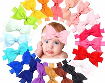 1691a144303c 20 colors 4 inch Hairbow headbands- Baby Girl s Hair bows headbands- pack of  20 toddler hair bow bands hair accessories- FREE SHIPPING