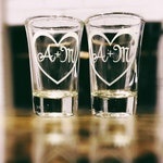 2 Personalized Shot Glasses, Personalized with Initials Inside a Heart, Wedding Favors, Dessert Glass, Wedding Shot Glasses -Set of 2