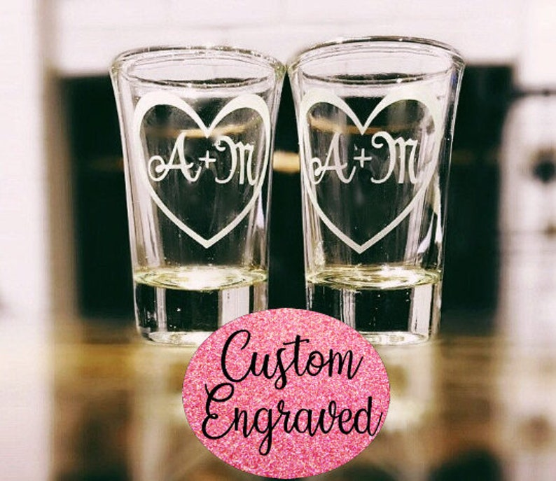 2 Personalized Shot Glasses Personalized with Initials Inside image 0