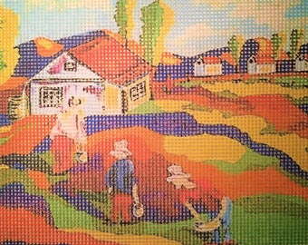 """Needlepoint canvas """"Bold village landscaping2"""" #PP19"""