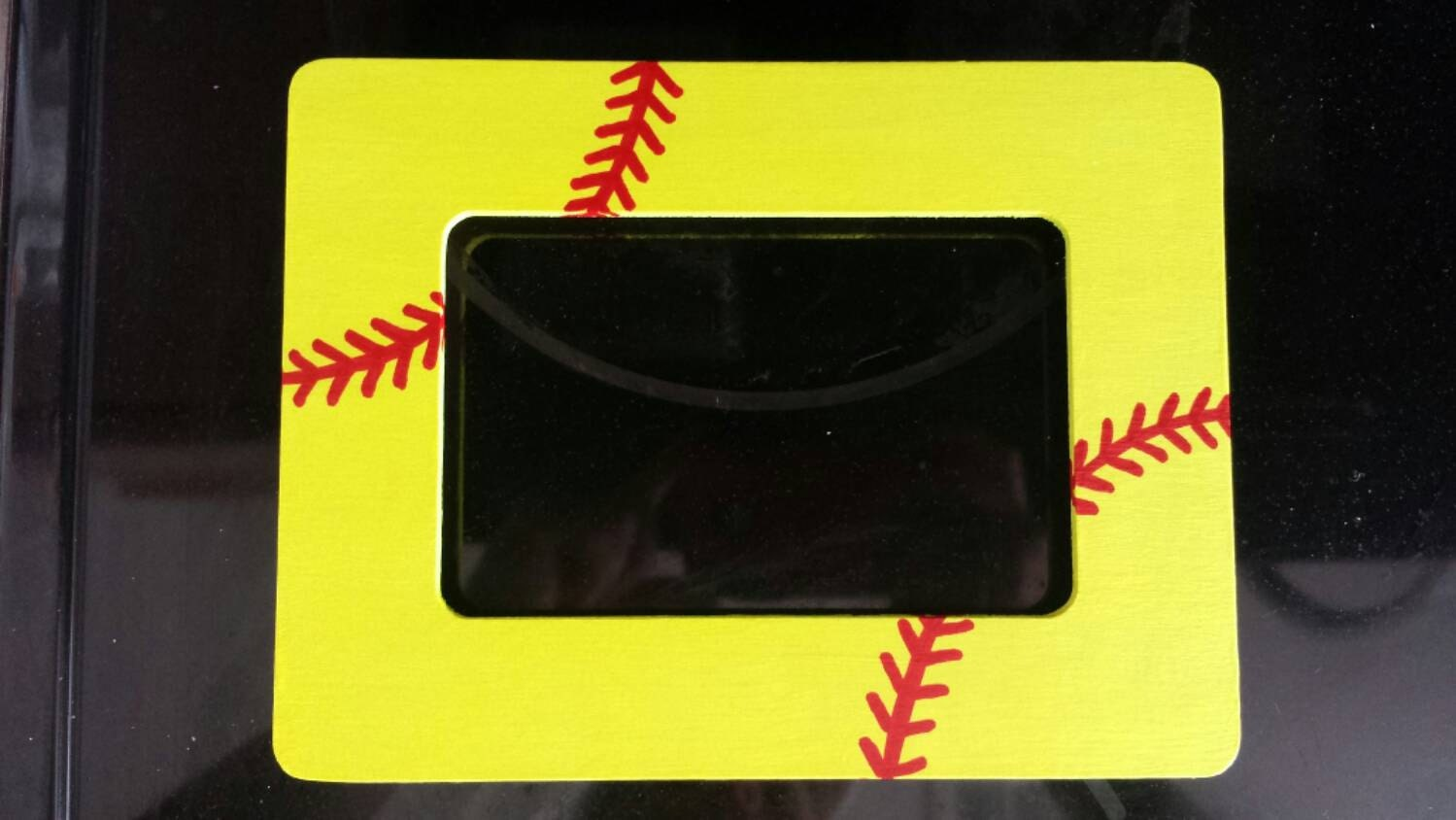 Softball frame 4x6 wooden hand painted neon bright yellow with red ...