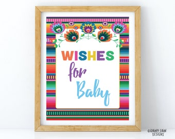 Wishes For The Little Senorita Sign Fiesta Baby Shower Sign