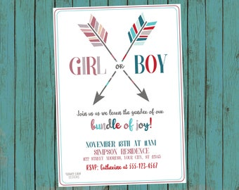 gender reveal invitation gender reveal party invite pink and etsy