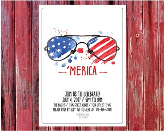 4th of July Party Invite, Printable 4th of July Party Invite, Fourth of July Party Invite, 'Merica, 'Merica 4th of July Invite, Watercolor