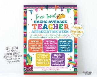 PrintableEDITABLE Nacho Average Teacher Gift Tag CORJL Template Fiesta Celebration Theme Appreciation for Teachers Staff Admin PTO