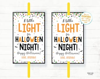 A little Light for Halloween Night Glow Stick Tag, Glow Stick Party Favor Tags, Halloween Favor Tags, Trick or Treat Tags, Glow Tag