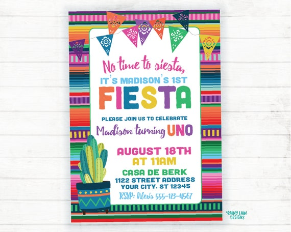First Birthday Fiesta Invite Girl Invitations