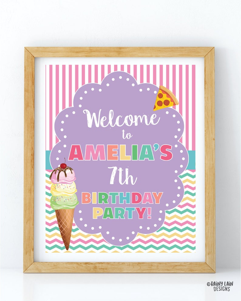 Ice cream and pizza party welcome sign stripes Ice Cream Party Welcome Sign Pizza Decorations Pizza Party Welcome Sign Ice cream decor