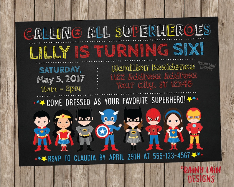Superhero Invitation Birthday Boy