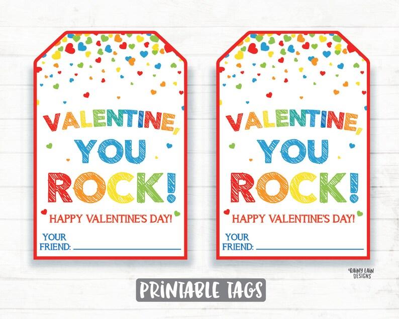 graphic regarding You Rock Valentine Printable identified as By yourself Rock Valentine, Pop Rocks, Painted Rock, Rock Portray Valentine, Preschool Valentines Clroom Printable Small children Non-Sweet Valentine Tag