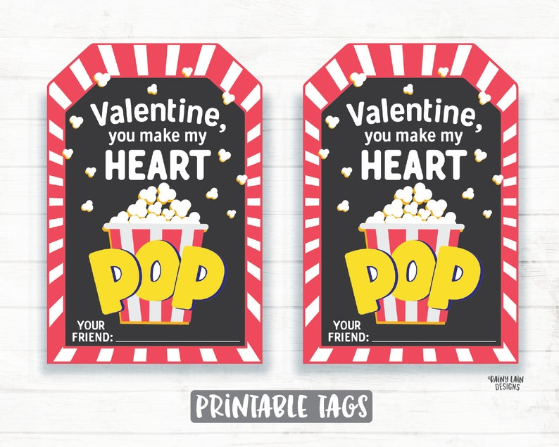 photograph regarding You Make My Heart Pop Valentine Printable named Popcorn Valentine, By yourself Deliver My Middle Pop Valentine Tags, Preschool Valentines, Clroom Valentines, Printable Children Non-Sweet Valentine Tag