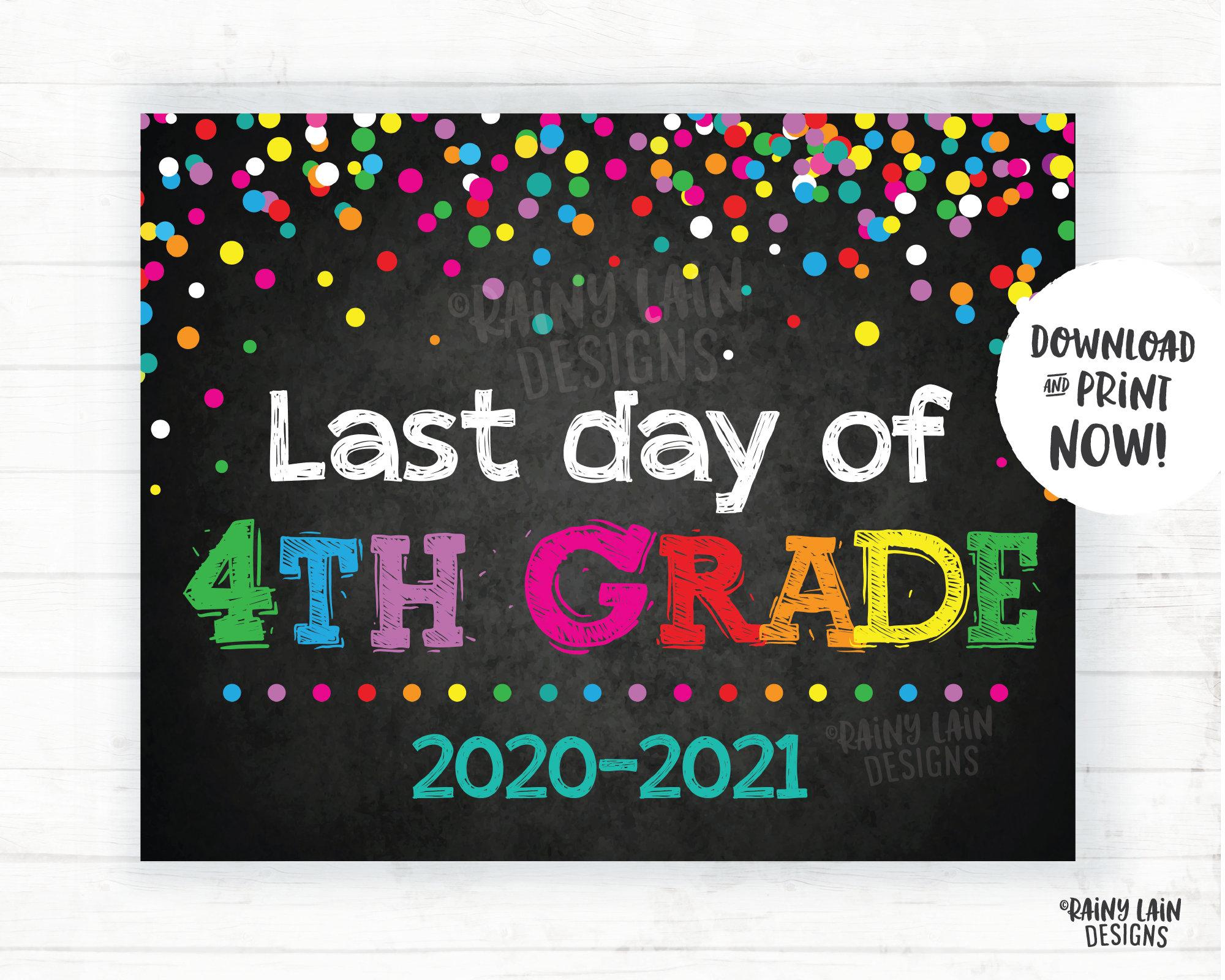 Letzter Tag der 4. Klasse Zeichen vierte Klasse Ende des