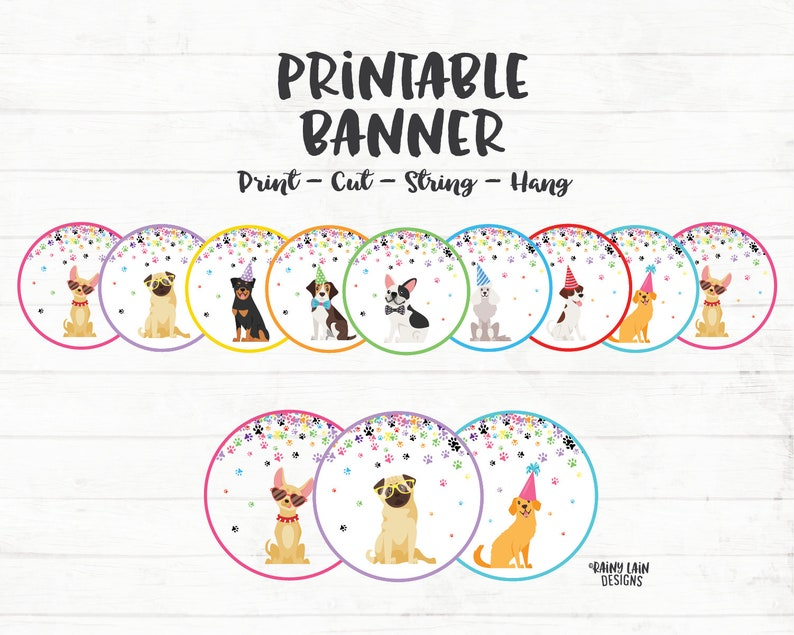 Puppy Party Banner Birthday PAW Ty Dog Dogs In Hats Puppies Paw Confetti