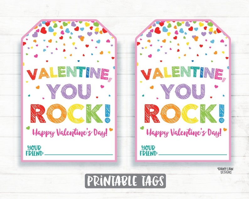graphic about You Rock Valentine Printable referred to as By yourself Rock Valentine, Rock Portray Valentine, Painted Rock, Pop Rocks, Preschool Valentines Clroom Printable Children Non-Sweet Valentine Tag