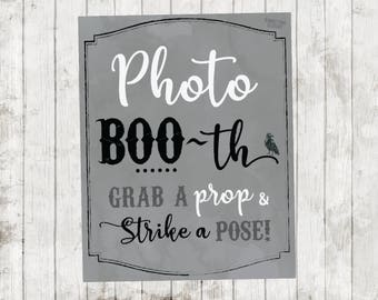 Halloween Photo Booth Sign, Photo BOO-th, Halloween Party Photo Booth Sign, Halloween Photo Booth, BOO, Grab a Prop and Strike a Pose