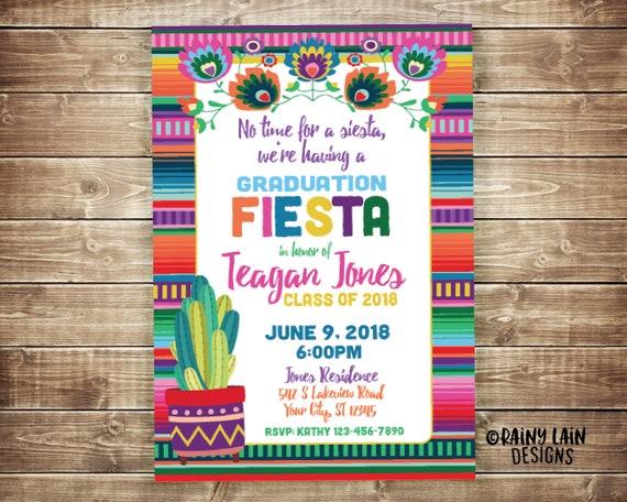 Fiesta Graduation Invitation Printable Fiesta Invite Fiesta Etsy