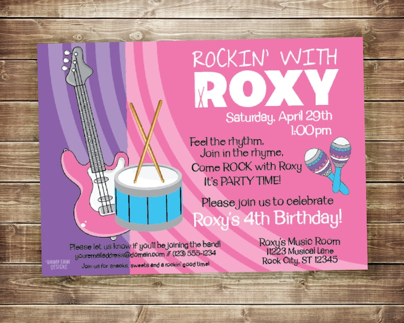 Music Birthday Invitation Party Invite