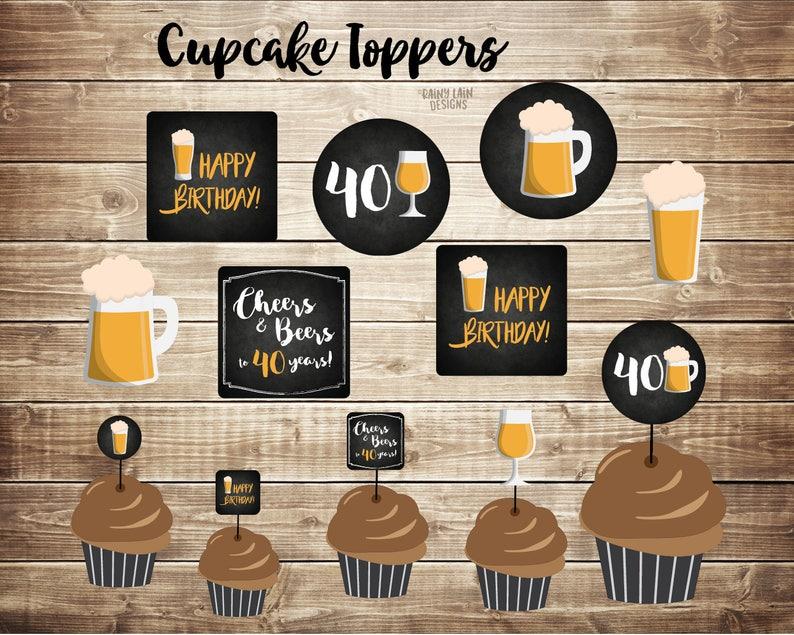40e Verjaardag Cupcake Toppers Bier Cupcake Toppers Cheers Etsy