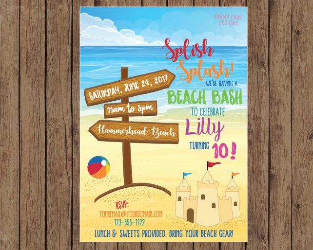 Beach Birthday Party Invitation Invite Sandcastle Bash Theme