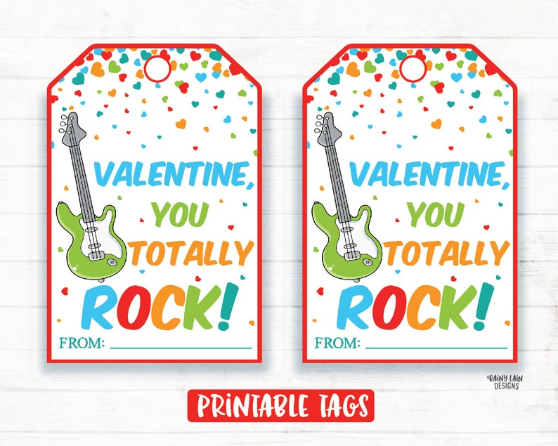 image relating to You Rock Valentine Printable named Your self Rock Valentine, Guitar Valentine, Pop Rocks Valentine, Preschool Valentines Clroom Valentines Printable Youngsters Non-Sweet Valentine Tags