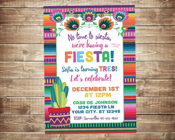Fiesta Invitations Mexican Invitation Girl
