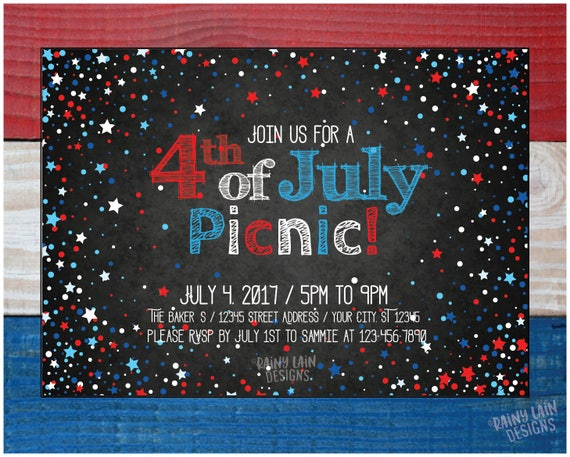 4th of july picnic invite printable 4th of july party invite etsy