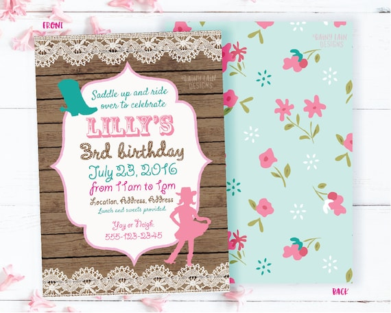 Cowgirl invitation vintage cowgirl birthday party invite etsy image 0 filmwisefo