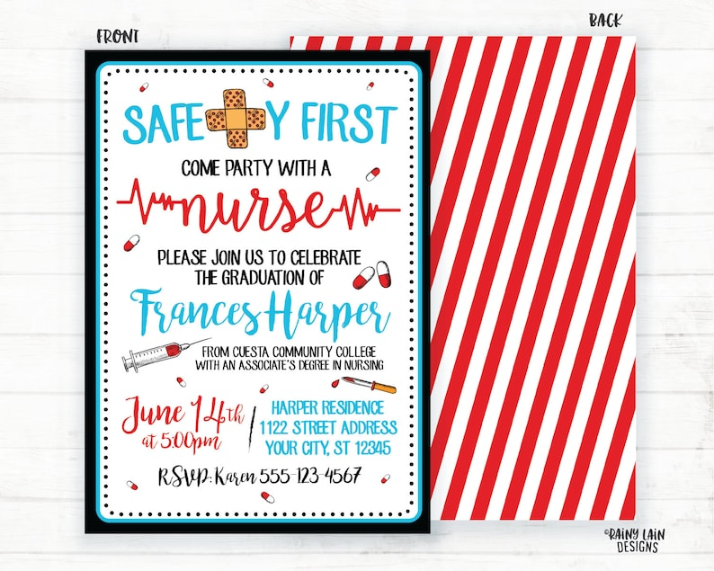 Nurse Graduation Invite Safety First Invites Party With A Invitations Nursing Red Stripes Bandaids