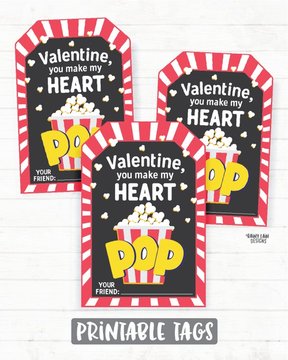 graphic about You Make My Heart Pop Valentine Printable called Popcorn Valentine, Yourself Produce My Middle Pop Valentine Tags, Preschool Valentines, Clroom Valentines, Printable Children Non-Sweet Valentine Tag