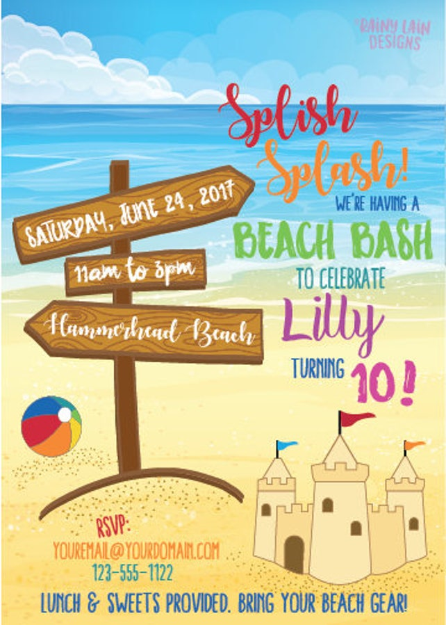 Beach Birthday Party Invitation Beach Party Invite Sandcastle