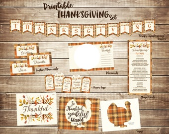 Thanksgiving Printables Set, Menu Cards, Banner, Garland, Placecards, Placemats, Favor Tags, Thankful Sign, Turkey Sign, Friendsgiving, DIY
