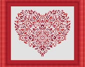HEART red / coeur- Counted cross stitch pattern /grille point de croix ,Cross Stitch PDF, Instant download , free shipping