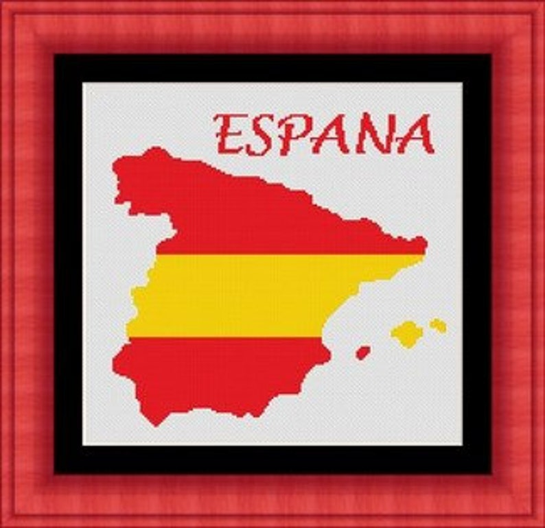 Map Of Spain Download Free.Spain Espana Espagne Map Counted Cross Stitch Pattern Grille Point De Croix Cross Stitch Pdf Instant Download Free Shipping