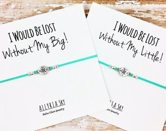 Silver Compass Big Little Sorority Bracelet (Single or Set) | Lost Without You | Big Sister, Little Sister | Sorority Reveal Gift Jewelry