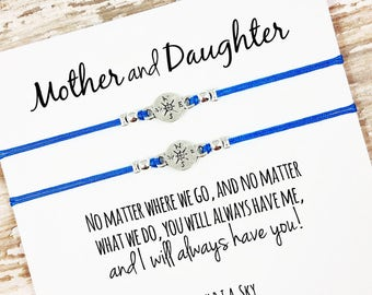 Set of Two Mother Daughter Bracelets | No Matter Where No Matter What | Mom, Daughter Gift Jewelry | Mother's Day | Matching Bracelets