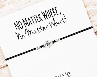 "Charm Friendship Bracelet with ""No Matter Where No Matter What"" Card 