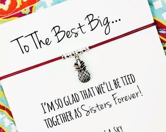 Silver Pineapple Big Little Sorority Bracelet (Single or Set) | Reveal Gift | Big Sister, Little Sister | Sister Gift Jewelry