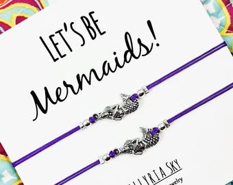 """Set of Two Silver Friendship Bracelets with """"Let's Be Mermaids"""" Card 