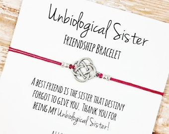 """Charm Friendship Bracelet with """"Unbiological Sister"""" Card 