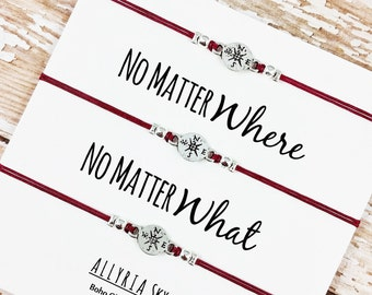 """Set of Three Charm Friendship Bracelets with """"No Matter Where No Matter What"""" Card 