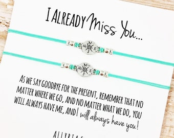 """Set of TWO Charm Friendship Bracelets with """"I Miss You"""" Card 