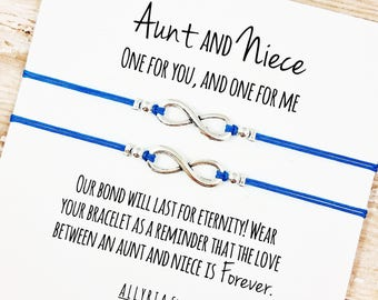 Set Of Two Charm Bracelets With Aunt And Niece Card