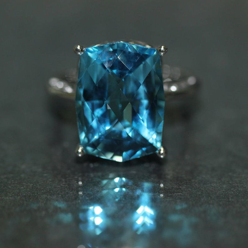 8260779ef 14k White Gold natural Checkerboard cut Swiss Blue Topaz | Etsy