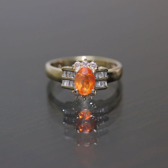 Estate 14k yellow gold Natural Mexican Opal & Diam