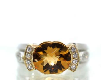 14k White and Yellow gold Natural Golden Citrine & VS-1 Diamond Modern ring 4.47ct
